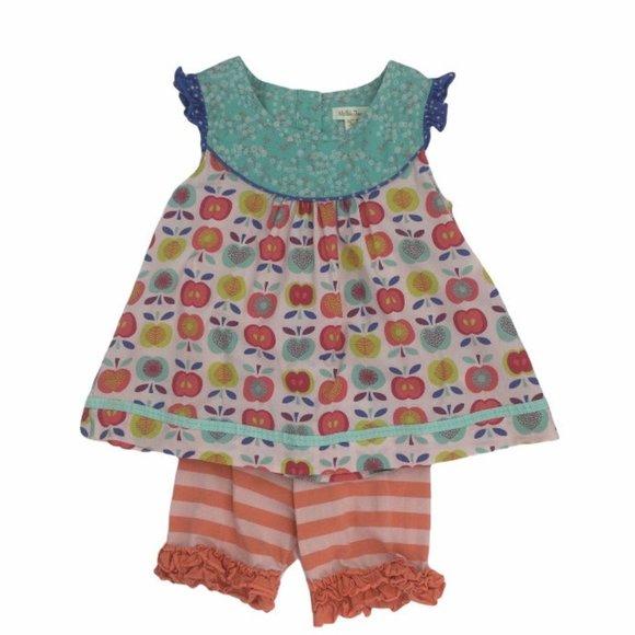 Matilda Jane Apple Print Short Girls Outfit Size 8